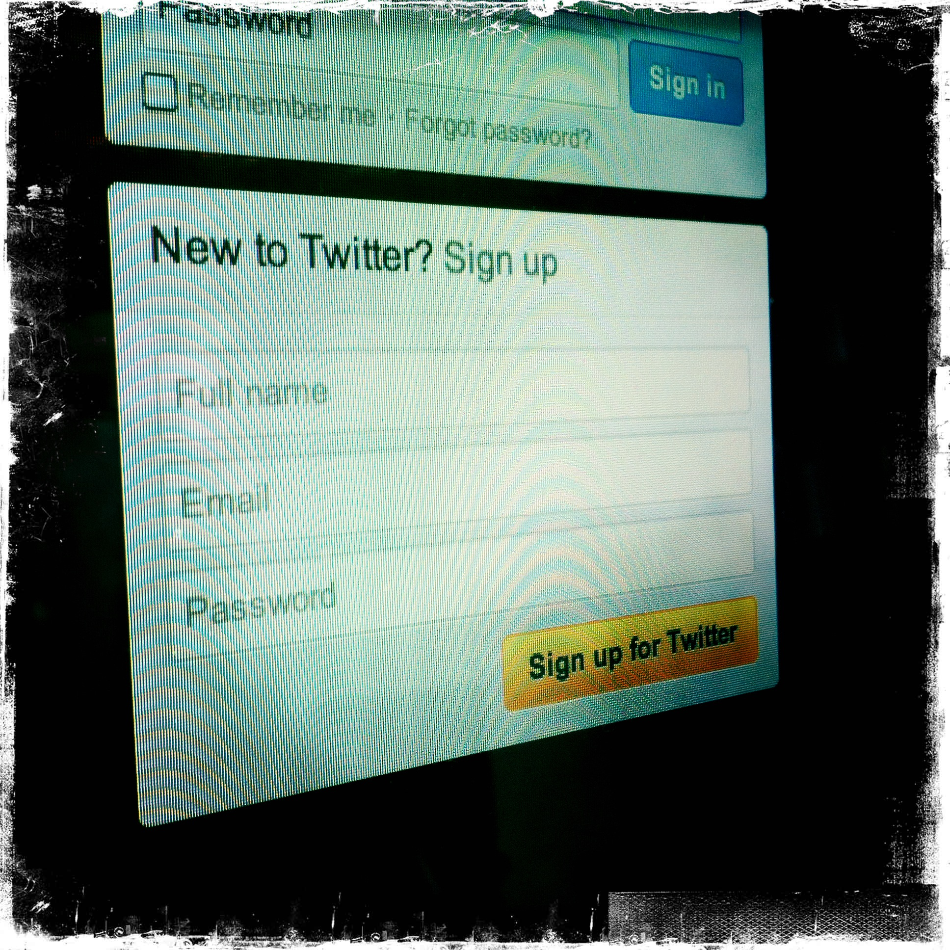 New to Twitter Login Screen