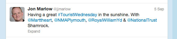 Having a great ?#TouristWednesday? in the sunshine. With ?@Marttheart?, ?@NMAPlymouth?, ?@RoyalWilliamYd? & ?@NationalTrust? Shamrock.
