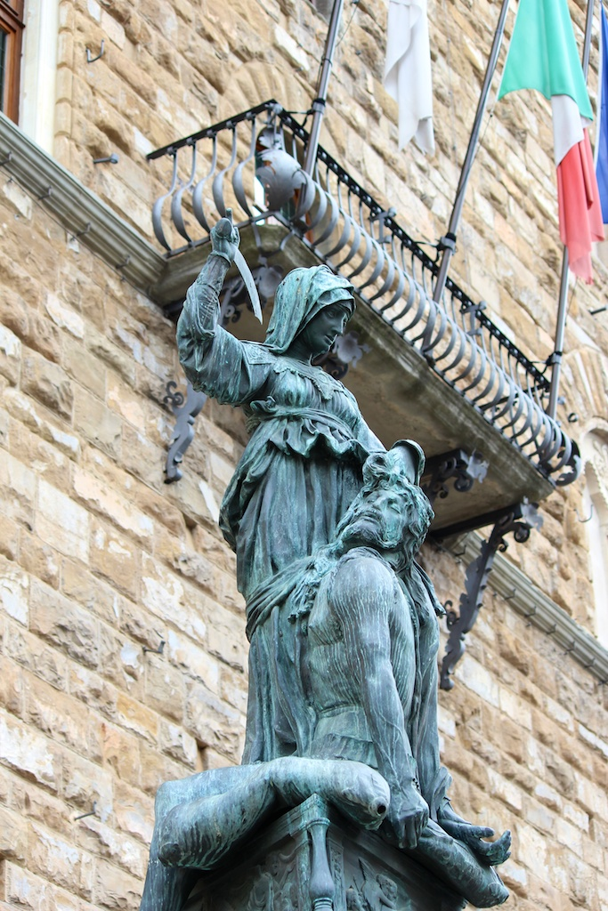 'Judith beheading Holofernes', a bronze sculpture group made by Donatello and located in the Piazza della Signoria, Florence Italy. Picture: J Marlow