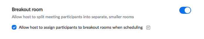 Add breakout room option in settings