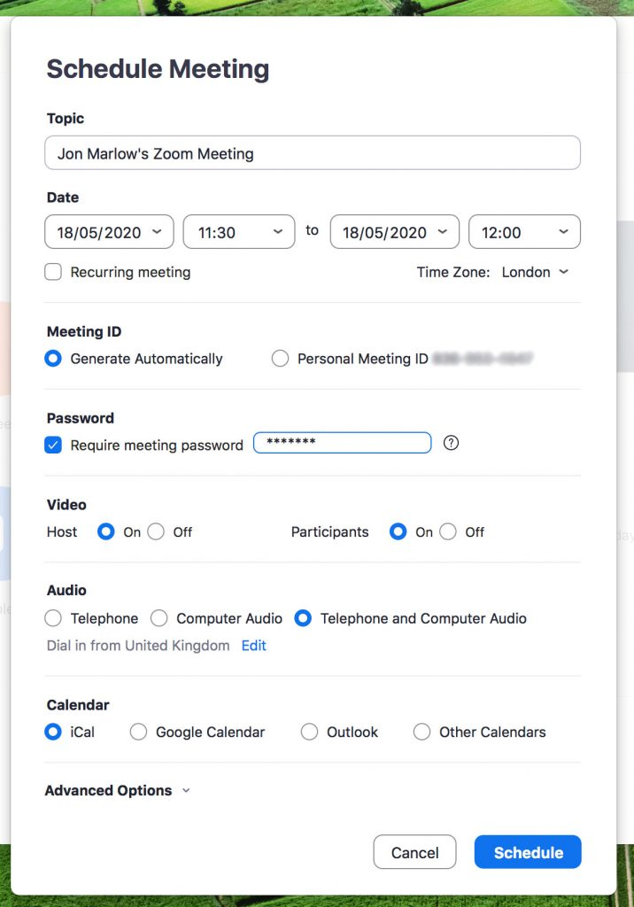 Zoom Meeting schedule dialogue box
